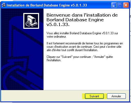 Fénêtre d'acceuil de l'installation de borland Database Engine