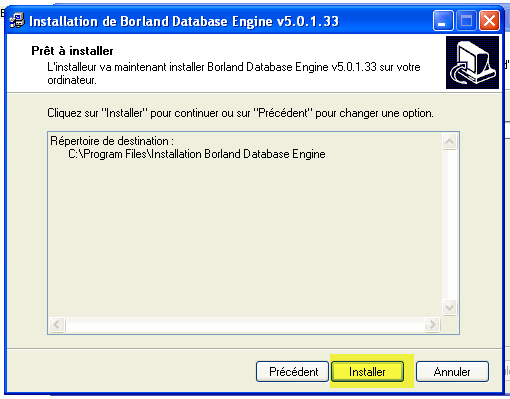 Fenêtre de confirmation d'installation de Borland Database Engine